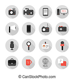 Set of flat colorful vector journalism icons Mass media...
