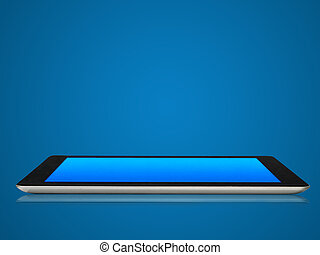 Modern tablet device in blue tone