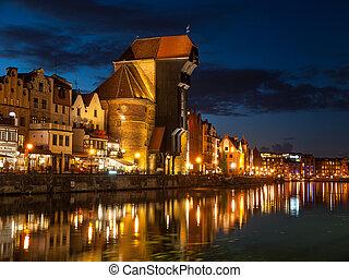 żuraw,  Gdańsk, Noc