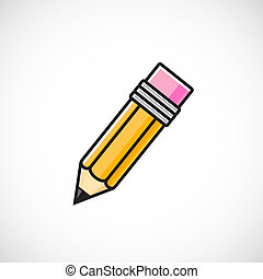 Vector pencil symbol icon on isolated background