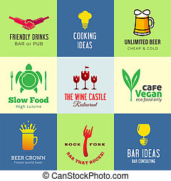 Set of creative vector icons for restaurant cafe bar or pub