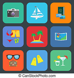 Flat travel or vacation icon set
