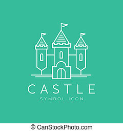 Abstract castle line craft style vector symbol icon on...
