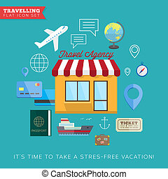 Travel and vacation flat vector icon set - Travel and...
