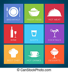 Bar and restaurant flat style vector icon set. - Bar and...