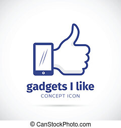 I Like Gadgets Abstract Vector Concept Icon on Isolated...