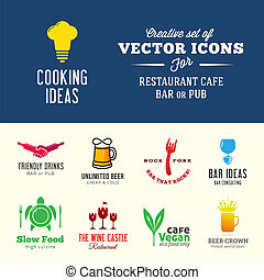 Set of creative vector icons for restaurant cafe bar or pub with typography