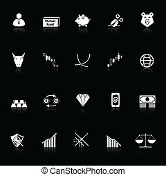 Stock market icons with reflect on black background