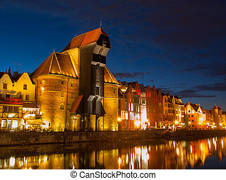 Gdańsk, żuraw, Noc