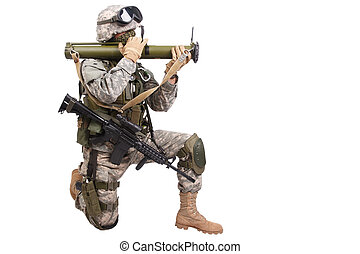 US soldier with anti-tank rocket launcher RPG on white...