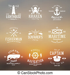 Set of Vintage Nautical Labels or Signs With Retro...