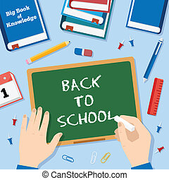 Back to School Flat Style Vector Background With Chalk...