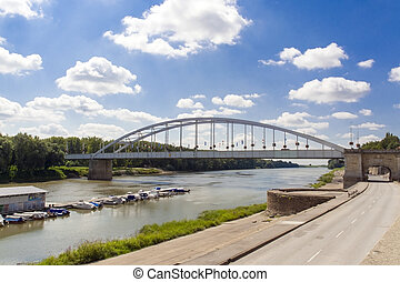 Tisza River at Szeged - The Hungarian Tisza River and bridge...