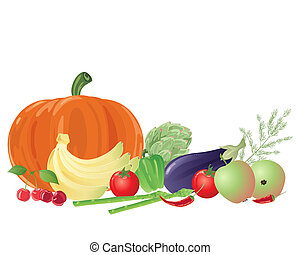 fruit and veg - an illustration of a group of colorful fruit...