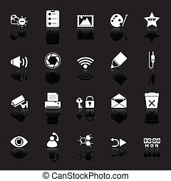 General computer screen icons with reflect on black...
