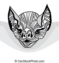 Bat head vector animal illustration for t-shirt. Sketch...
