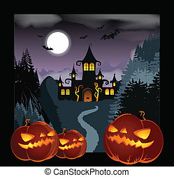 Helloween Background - Vector image of a dark Helloween...