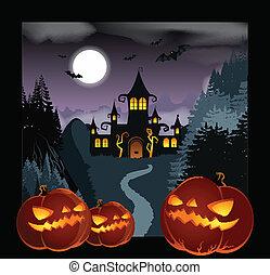 Helloween Background - Vector image of a dark Helloween...