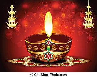 happy diwali background with deepak vector illustration