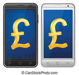 smartphone pound symbol - Smartphone with symbol on a white...