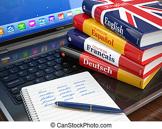 E-learning Learning languages online Dictionaries on laptop...