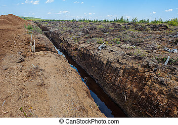 Peat extraction in a field - Peat extraction. Reclamation...