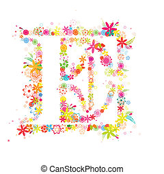 capital letter e with countless colorful flowers