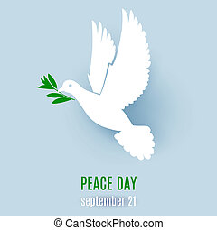 Fly dove - Dove of peace flying with a green twig...