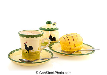 Cup of coffee with yellow cakes - Cheerful crockery with...