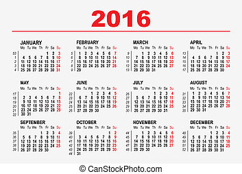 2016 calendar template Illustration in vector format