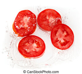 tomato in water on white background