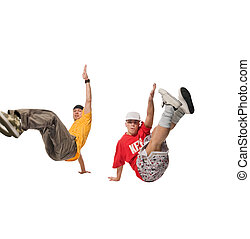 Two breakdancers making out on white background - Cool...