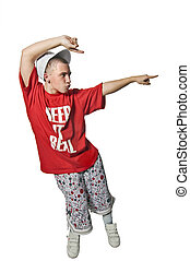 Cool breakdancer making out on white background - Cool...