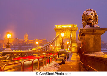 Chain Bridge at night, Budapest, Hungary - Chain Bridge...