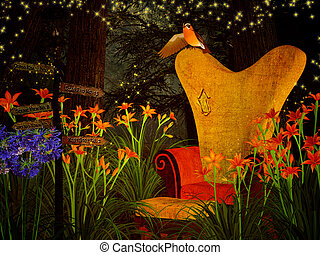 fantasy armchair in the dreamy forest - illustration