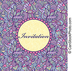 invitation card - Vector illustration of colorful invitation...