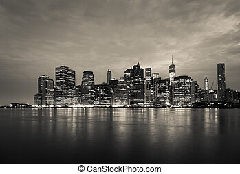 New York - view  of Manhattan Skyline by night