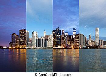 USA,  Montage,  -,  Manhattan, horisont,  York, Natt, färsk, dag