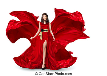 Woman in red fluttering dress - Sexy young motion woman in...
