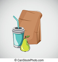 Set of fast food items. Vector drawing