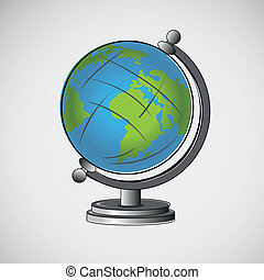 Vector school globe on a light background.