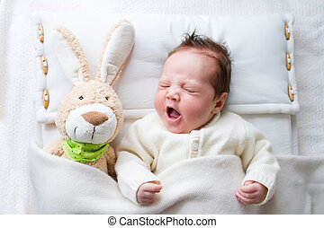 Baby with bunny - Adorable sleepy newborn baby with a toy...