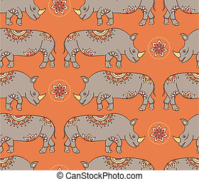 seamless pattern with colorful rhinoseroses