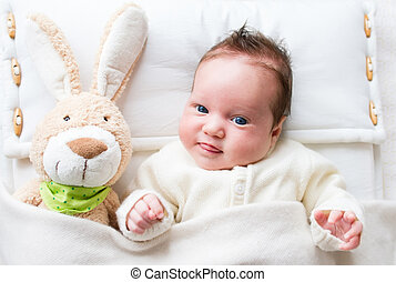 Baby with toy bunny - Sweet little baby girl with a toy...