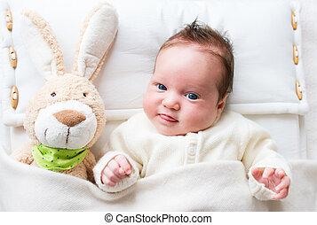 bebê, brinquedo, coelhinho
