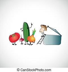 Set of vegetables for cooking soup. Vector design.
