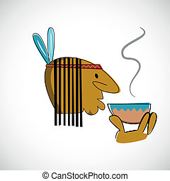 Indian head with brown skin. Vector design.