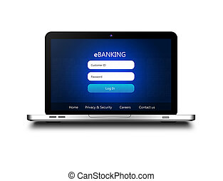 laptop with ebanking login page isolated over white...