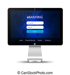 monitor with ebanking login page isolated over white...