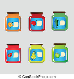 Set jars with tinned vegetables and fruits.